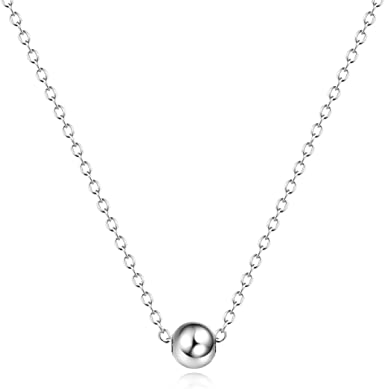 New Fashion Genuine S925 Sterling Silver Bead Chokers Ball Necklace Chains Gifts
