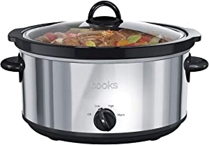 Slow Cooker Stainless Steel Large Capacity 6-Quart Removable Stoneware Insert Black Professional Grade by Cooks JCPenney Home