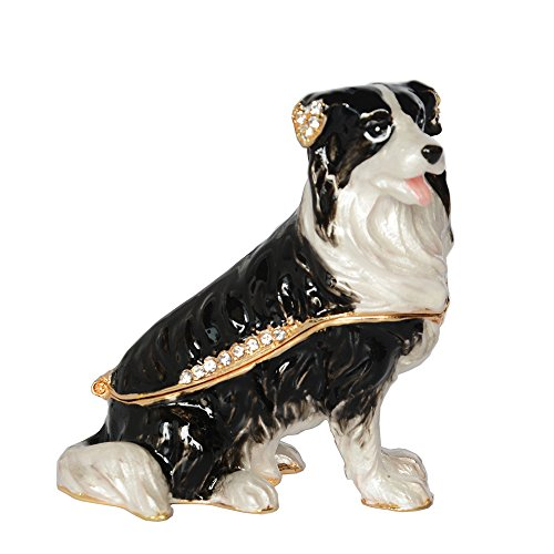 Border Collie Pewter Bejeweled Hinged Trinket Jewelry Box Dog Miniature Sculpture (Dog Hinged Trinket Box)