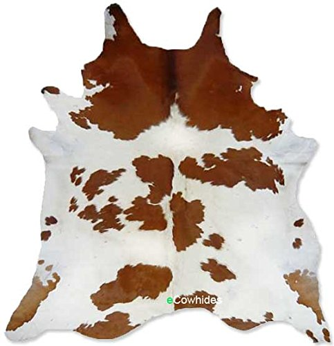 Brown and White Cowhide Rug on SALE Cow Hide Skin Leather Area Rug: XL