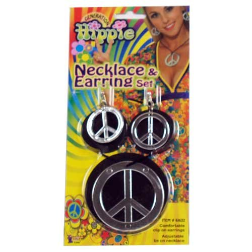 Hippie Peace Sign Necklace and Earrings, One-Size, Silver (Clip On) (Hippie Dress Up)