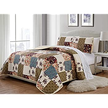 Mk Home 2pc Twin/Twin Extra Long Bedspread Quilted Print Floral Beige Burgundy Purple Blue Taupe Over Size New # Milano 62