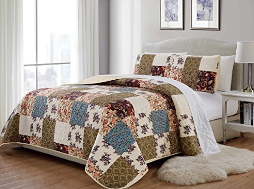 King/California King 3pc Quilted Bedspread Set Oversized Coverlet Floral Beige Green Blue New (Quilted Bedspread Sets)