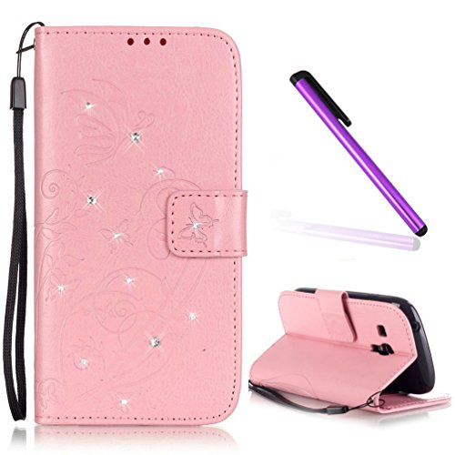 Samsung Galaxy 8190N Case EMAXELER Stylish Wallet Case Kickstand Flip Case Credit Cards Slot Cash Pockets PU Leather Flip Wallet Case with Stand For Samsung Galaxy S3 Mini Butterfly Pink