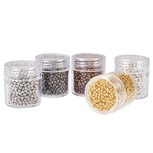 Pandahall 5 Box Iron Round Spacer Beads Findings Stardust Base Round 2mm for Jewelry Making