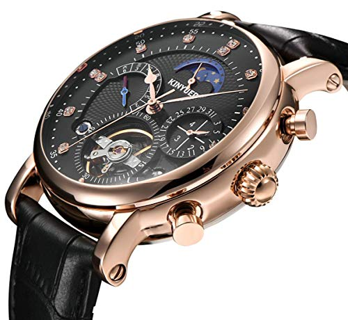 - Men Tourbillon Mechanical Stainless Steel Watch Sport Leather Moon Phase Military Automatic Watches for Mens
