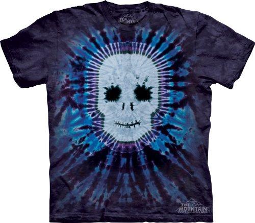 Mountain Tie Dye Skull Adult Size T-shirt , Blue , Large