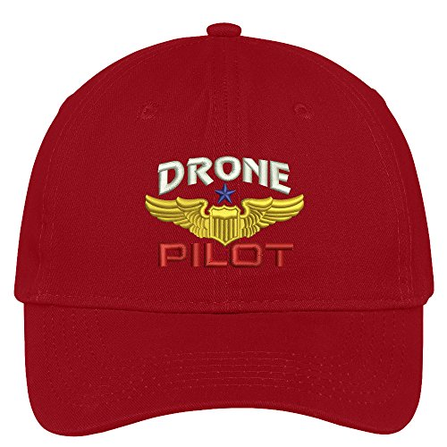 Red Brushed Cotton Cap (Trendy Apparel Shop Drone Pilot Aviation Wing Embroidered Soft Crown 100% Brushed Cotton Cap - Red)