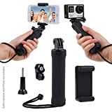 Stabilizing Hand Grip for GoPro Fusion, HERO6 / HERO5, Black, Session, HERO4, Session, Black, Silver, Hero+ LCD, 3+, 3, and Compact Cameras & Phones - Tripod Adapter, Phone Holder - Steady Shots