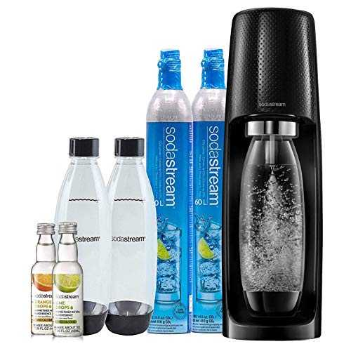 SodaStream Fizzi Sparkling Water Maker Bundle (Navy Blue), with CO2, BPA free Bottles, and 0 Calorie Fruit Drops Flavors