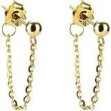 Ling Studs Earrings Hypoallergenic Cartilage Ear Piercing Simple Fashion Earrings Ear Jewelry Ear Chain Fringed Short Ear Hook, Gold