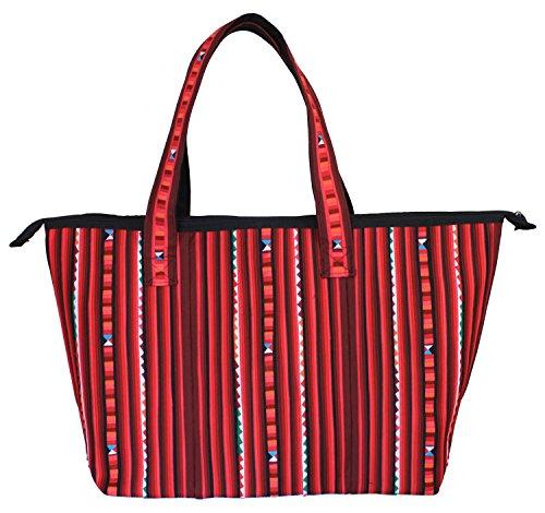 Bijoux De Ja Handmade Quilted Top Double Handle Tote Shopping Handbag (Red)