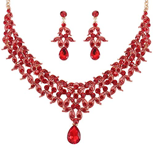 Stylebar Bridal Red Jewelry Set Ruby Color Crystal Teardrop Leaf Wedding Statement Necklace Earrings Sets Women Gold Tone