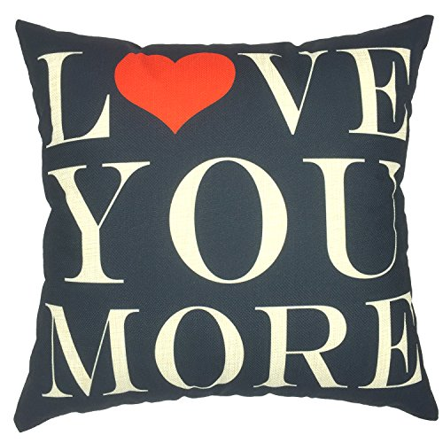 YOUR SMILE LOVE Cotton Linen Square Decorative Throw Pillow Case Cushion Cover 18x18 Inch,Black,(Valentine's Day Gift)