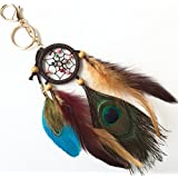 Totmart Dark Peacock Feather Dream Catcher Circular Net For Car Kids Bed Room Wall Hanging Decoration Decor Ornament…