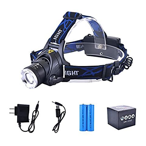 LED Headlamp Flashlight Waterproof Rechargeable Headlamps Zoomable Adjustable Focus Cree T6 Headlight For Camping Hiking Hunting Running Working Outdoor Sports With 18650 Batteries Charger USB (Jury Charge)