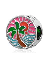 Palm Trees Charm Bead 925 Sterling Silver Summer Charms