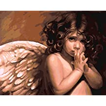 YEESAM ART New Release Paint by Number Kits for Adults Kids - Angel Baby 16x20 inch Linen Canvas (Without Frame)