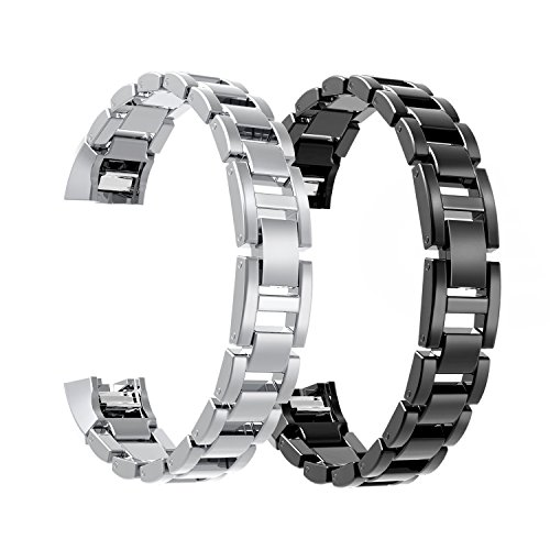 Metal Bands for Fitbit Alta, SailFar Stainless Steel Replacement Accessory Bracelet Strap Wrist Watch Band Small for Fitbit Alta, Men/Women(2PCS, Silver + Black, Stainless Steel) ()