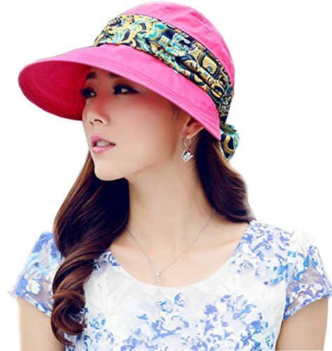 - Roll Up Wide Brim Sun Visor UPF 50+ UV Protection Sun Hat with Neck Protector Rose