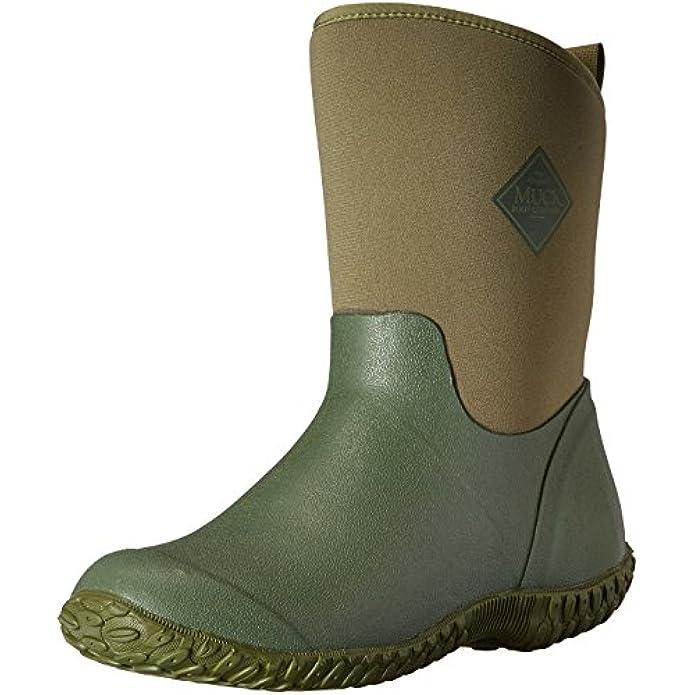 Muckster ll Mid-Height Women's Rubber Garden Boots, Green w/ Floral Print Lining, 5 B US