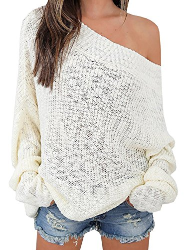 Anatoky Womens Off Shoulder Pullover Knit Jumper Batwing Sleeve Oversized Loose Fit Sex Casual (Long Sleeve Pullover Knit)