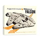 Star Wars Classic Millennium Falcon Vintage Style Printed Canvas 20W x 16H x 1.25D