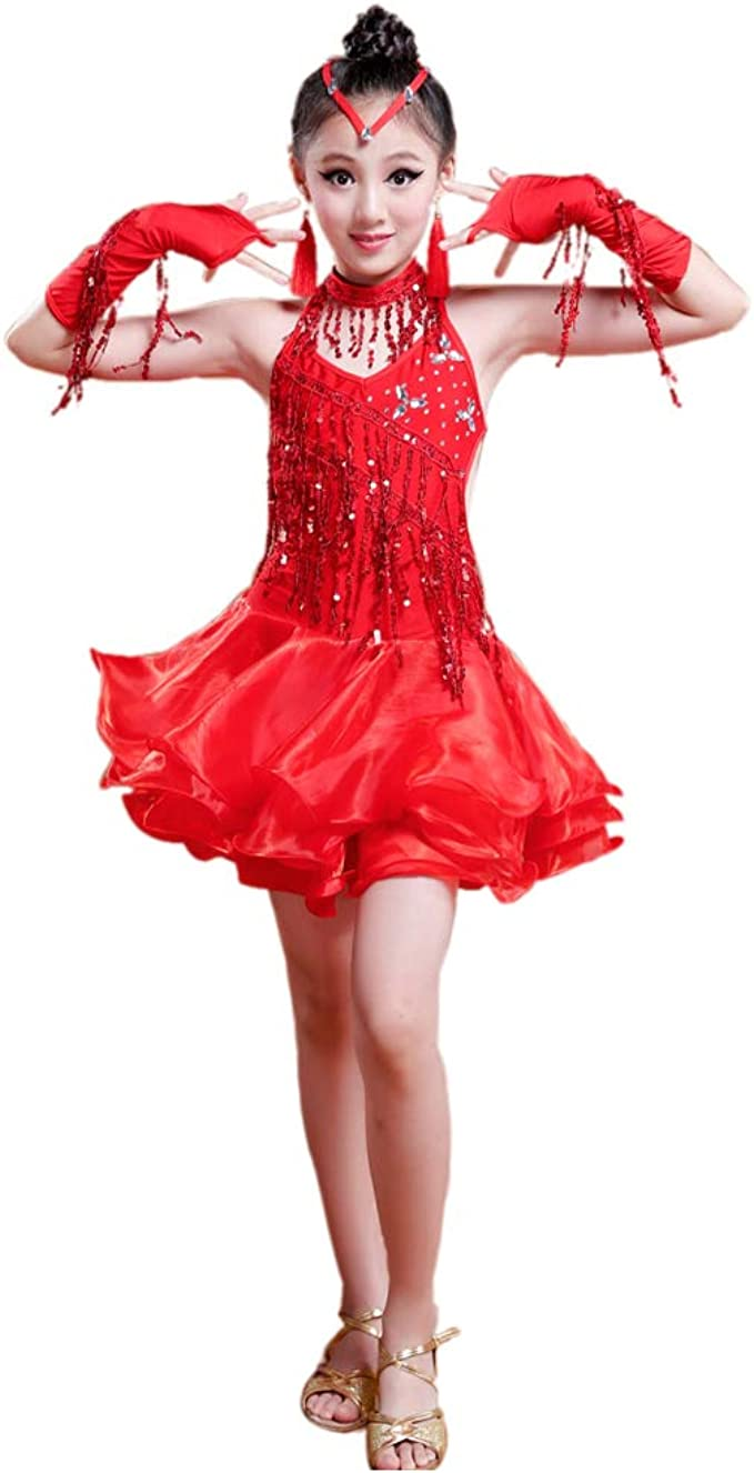 Meijunter Latin Dance Dress Sparkling Sequin Tassels Modern Dance Performance Costumes Tutu Dancewear