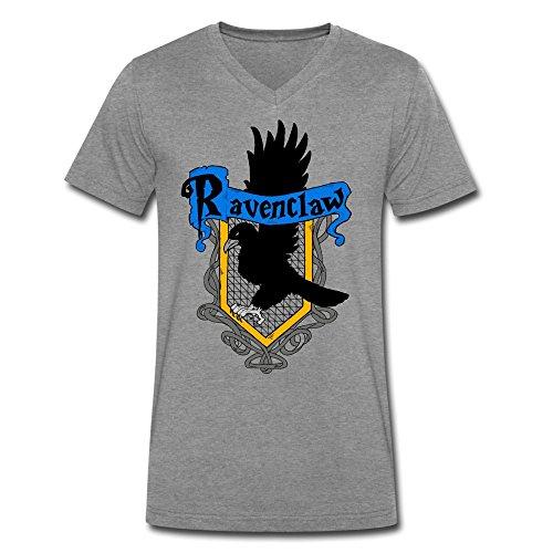 [DeMai Mens V-Neck 100% Cotton Harry Potter Ravenclaw Shirt XL DeepHeather] (Hogwarts Robes Gryffindor)
