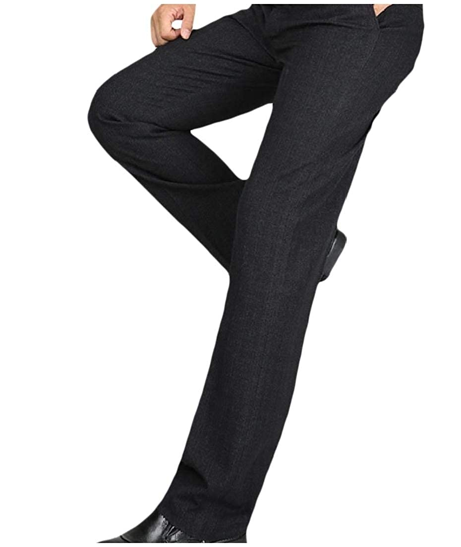 AngelSpace Men Straight Casual Plus-Size Work Flat Front Plain-Front Pant