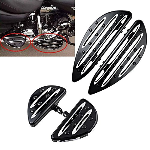 Price comparison product image Motorcycle Black CNC Deep Cut Front Rear Floor Board Pedal Driver Passenger Stretched Floorboards Foot Pegs Rest For Harley Touring Electra Road Street Glide Road King(Pack 4)