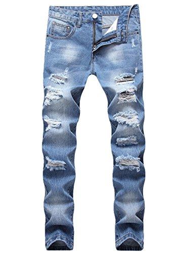 GUNLIRE Mens Ripped Distressed Destroyed Skinny Fit Fashion Stretch Denim Jeans