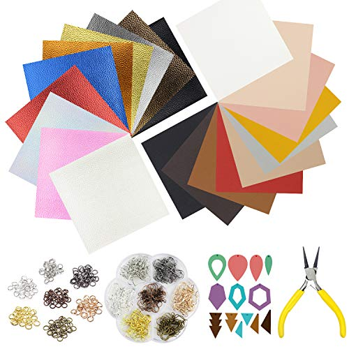 "(10pcs Metallic Faux Leather Sheets + 10pcs Double Sided Litchi Synthetic Leather Fabric Sheets(6""x 6"") with 140pcs Earring Hooks, 140pcs Jump Rings, Pliers and Cut Molds for Earring Making Crafts)"