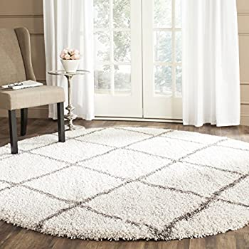 Safavieh Hudson Shag Collection SGH281A Ivory and Grey Moroccan Diamond Trellis Round Area Rug (5 Diameter)
