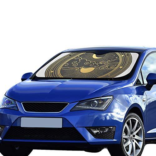 - Car Sun Shade Women Golden Crescent and Sun Foldable Sunshade for Maximum Uv and Sun Protection Keep Your Vehicle Cool 55 X 30inch (140cm X 75cm) Car Sun Shade Windshield