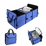 Foldable Trunk Organizer with Side-Pockets, Collapsible Car Storage Container with Large Compartments Cooler Storage for Vehicle SUV for Emergency Supplies Carrier, Groceries