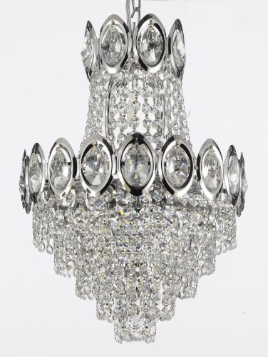 French Empire Crystal Chandelier Chandeliers Lighting, SILVER, H17 X Wd12, 4 Lights,