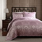 Simple&Opulence Polyester Palace Printing Rose-Red Bedding Quilt Duvet Cover Set Including 1 Duvet Cover 2 Pillow Cases (Queen)