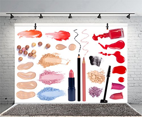 Leyiyi 5x3ft Photography Background Make Up Items Backdrop BB Cussion Eyebrow Powder Nail Polish Lipstick Eyelash Sexy Lady Fashion Club Bridal Shower Vlogger Photo Portrait Vinyl Studio Video Prop