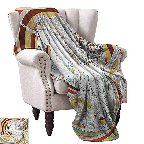 "Unicorn Blanket Sheets Pop Art Culture Graphic of Ancient Unicorn with Angel Wings on Spiral Backdrop Artwork Traveling,Hiking,Camping,Full Queen,TV,Cabin 36"" Wx60 L Multi"