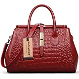 Jack&Chris® Women Genuine Leather Crocodile Leather Shoulder Bag Top-handle Tote, WBDZ024 (Red)