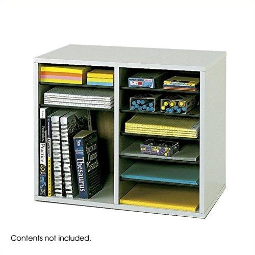 Scranton & Co Grey 12 Compartment Wood Adjustable File Organizer