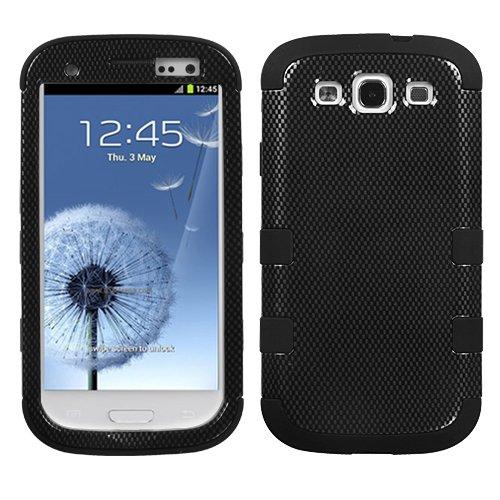 MYBAT SAMSIIIHPCTUFFIM022NP Premium TUFF Case for Samsung Galaxy S3 - 1 Pack - Retail Packaging - Carbon Fiber/Black (Faceplate Carbon Fiber Protector)