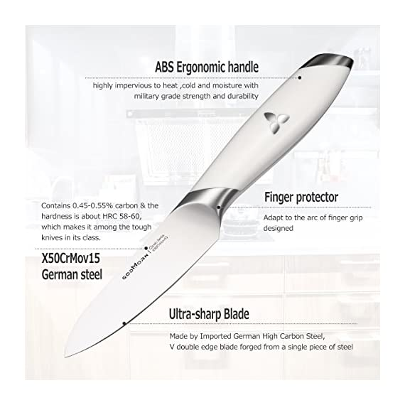 "Godmorn Chef Knife, Chef Knife,Santoku Knife,7"" 8"" White,Black 3 ✔ MORE THAN BREAD KNIFE: Curved with well-sized pointed serrations, gives the user the ability to use a rocking motion when cutting foods without sticking and tearing the soft interior, and also offers better knuckle clearance than a flat knife, could make quick work of soft fruits and vegetables,and even carve up leftover roast or chicken. ✔ PREMIUM GERMAN STAINLESS STEEL: The blade is made of German stainless steel, which contains 0.45 - 0.55% carbon, and the hardness is up to 58HRC, Therefore not easy to roll edge with excellent wear and stain resistance, each blade is forged from a single piece of steel, which ensures outstanding strength and prevents from Absorption and discoloration. ✔ ERGONOMIC HANDLE: Ergonomic rounded handle design and sensitive blade design, balance the weight from blade to handle perfectedly, extreme comfort, perfect balance. ABS rounded handle-made of premium ABS materials, highly impervious to heat ,cold and moisture with military grade strength and durability."