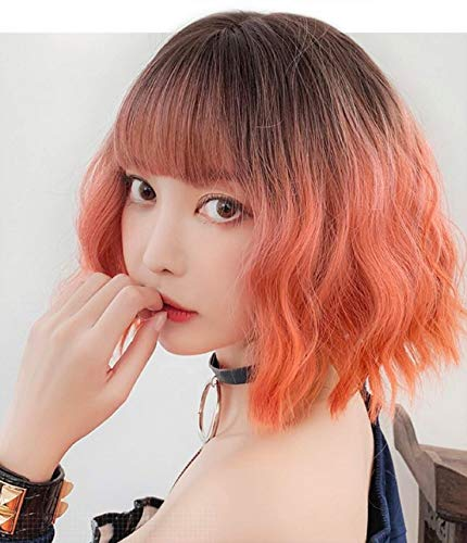 Wavy Wig With Air Bangs Women's Short Bob Brown to Orange Wig Curly Wavy Shoulder Length Bob Synthetic Cosplay Wig for Girl Colorful Costume Wigs(16