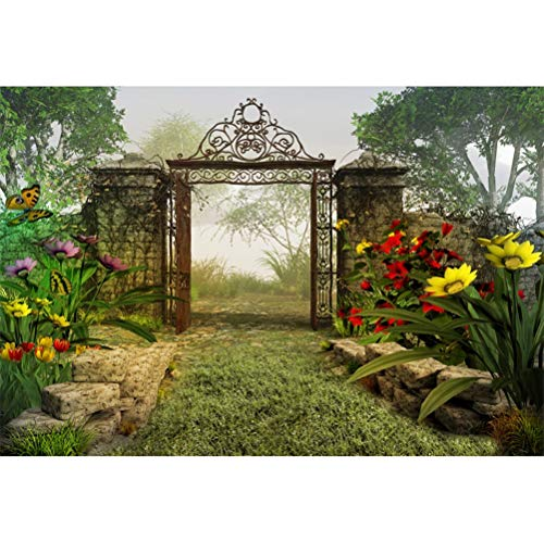 Laeacco 10x6.5ft Fairy Tale Riverside Tranquil Secret Garden Scenic Vinyl Photography Background Blooming Flowers Flying Butterflies Opened Gate Faint Fog Backdrop Child Adult Shoot Studio Props