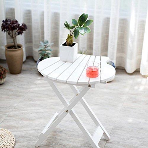 (Magshion FOLDSHELF-TABLE-02-WH Wood Shell Shape Bistro Folding Patio Balcony Side Tabl)