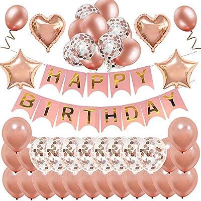 Decoración de cumpleaños en oro rosa, feliz cumpleaños Decoración guirnalda Banner de cumpleaños para fiesta con globos y globos de confeti y globos ...