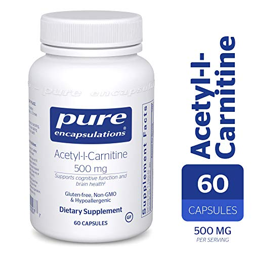 Pure Encapsulations - Acetyl-l-Carnitine 500 mg - Hypoallergenic Supplement to Promote Memory and Attention* - 60 Capsules Acetyl L-carnitine 500 Vitamins