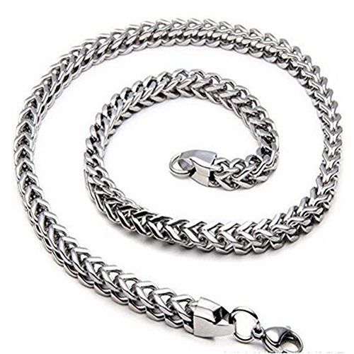 Double Bone - WIBERN 3-6 MM Stainless Steel Men Curb Double Bone Chain Long Necklace Male Jewelry 18-30 Inches (5MM, 28 inches)